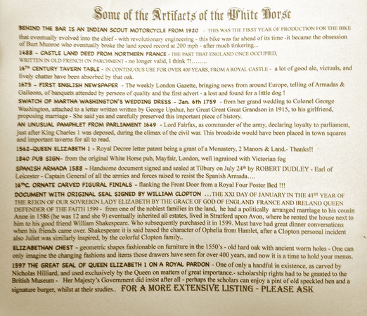Partial list of artifacts at the White Horse Country Pub & Restaurant on the back of the menu