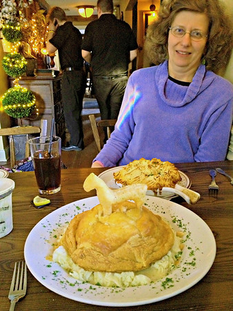 Patti with her Shepherd's Pie along with my Chicken Pot Pie at the White Horse Country Pub & Restaurant, New Preston, CT
