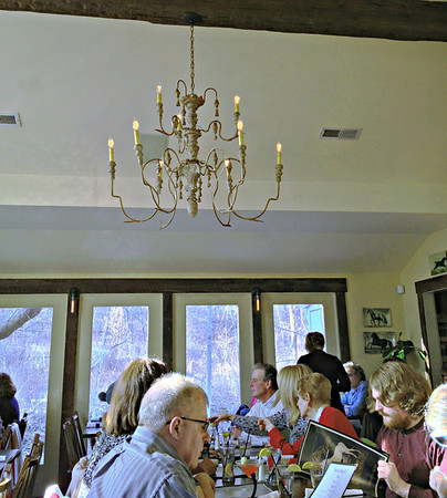 18th-Century French Chandelier in the dining room of the White Horse Country Pub & Restaurant