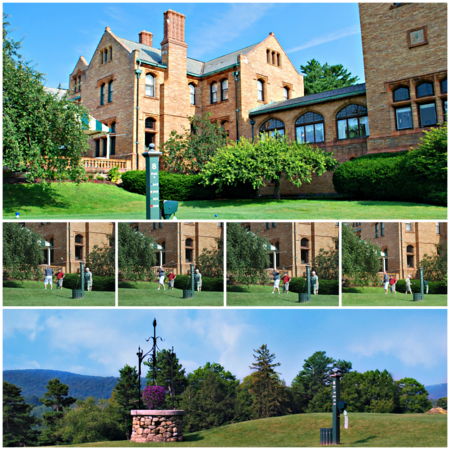 Collage of the 8th Hole of the Championship Golf Course at the Cranwell Resort, Spa, and Golf Club