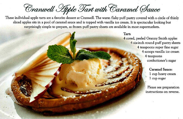 Cranwell Apple Tart with Caramel Sauce Recipe Card from the Cranwell Resort, Spa, and Golf Club