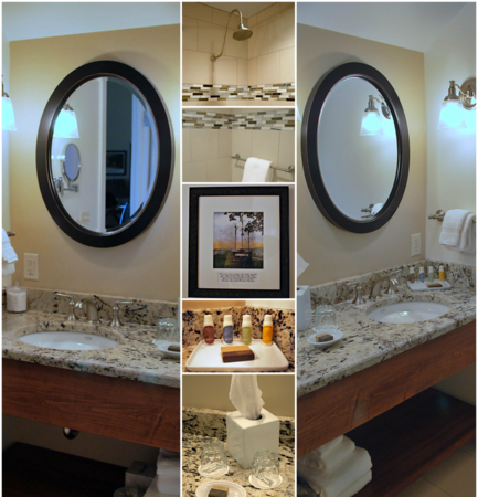 Photo Collage of the Bathroom in Room #311 at the Cranwell Resort, Spa, and Golf Club