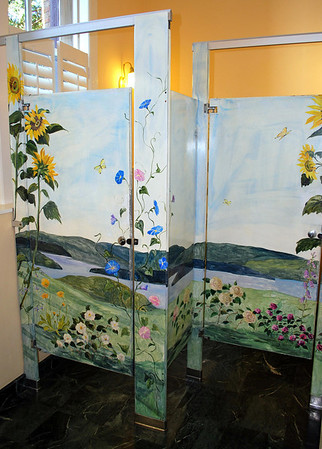 Painted Stall Doors in the Ladies Room of the Mansion at the Cranwell Resort, Spa, and Golf Club
