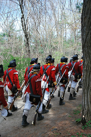 British Reenactors on the Battle Trail Road at Minute Man NHP, Patriots Day Weekend 2012