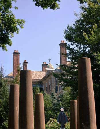 Nate, the Italian Garden Pillars, and the Roofline of the Great House