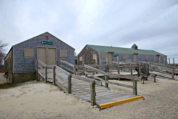 Bath houses at Crane Beach