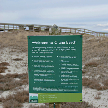 Welcome to Crane Beach Sign