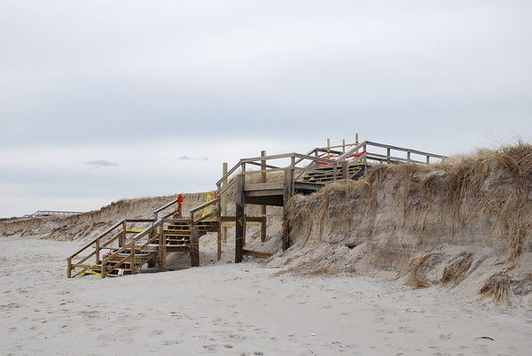 Storm damage to a boardwalk at Crane Beach