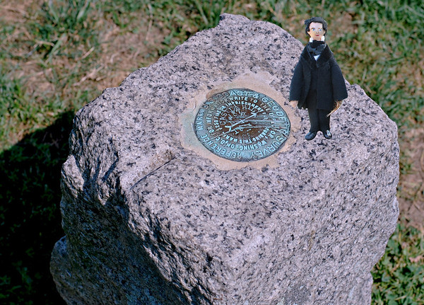 Nate and the Geocode stone at the top of the Grande Allée